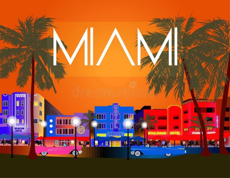 五颜六色的迈阿密传染媒介 海洋驱动、装饰艺术运动、棕榈和老汽车 库存例证