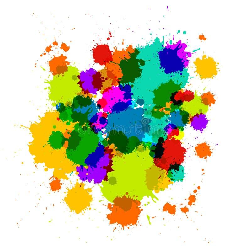 五颜六色的透明传染媒介污点,污点 向量例证