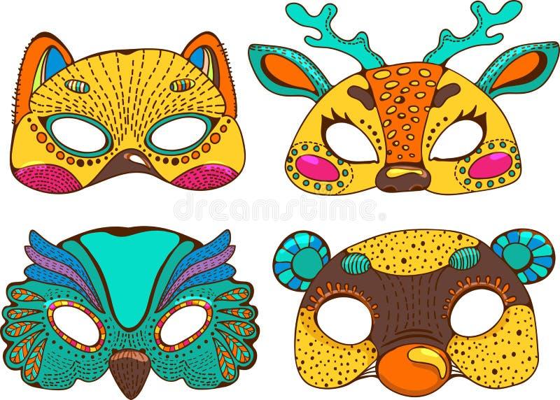 五颜六色的逗人喜爱的动物面具 向量例证
