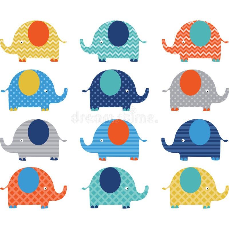 五颜六色的逗人喜爱的大象收藏 库存例证