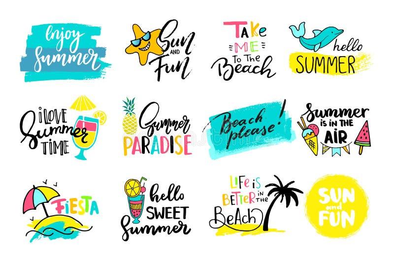 五颜六色的逗人喜爱的手拉的夏天卡片,背景 库存例证