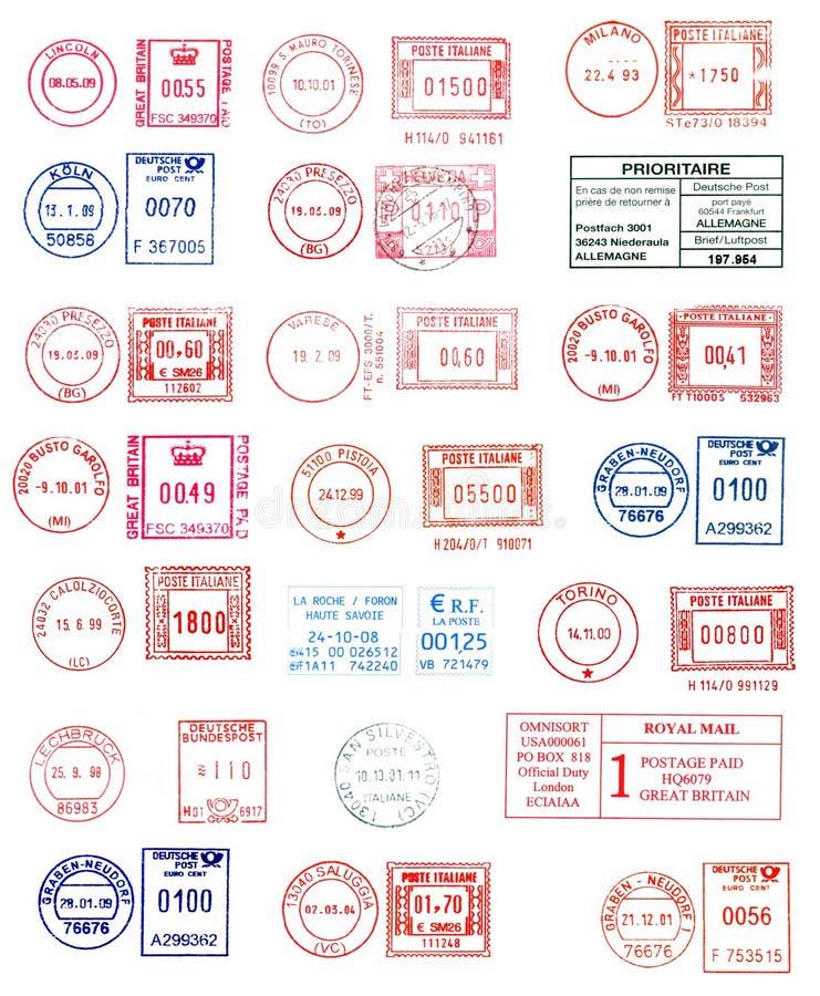 五颜六色的邮戳 向量例证