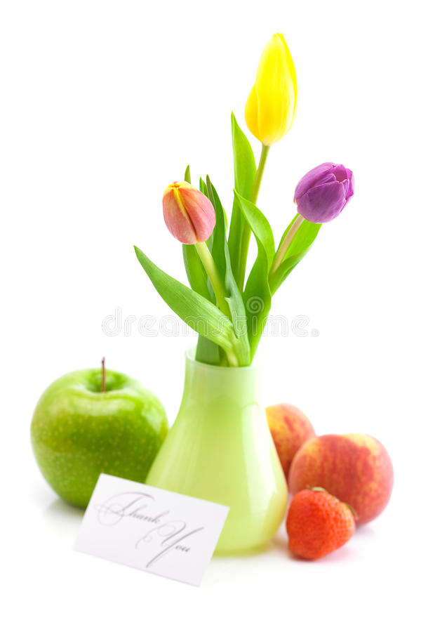 五颜六色的郁金香花瓶 免版税图库摄影