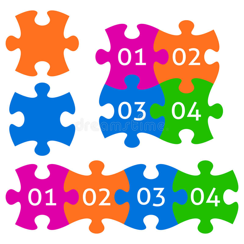 五颜六色的部分难题 库存例证