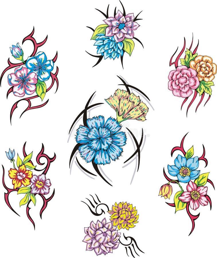 五颜六色的部族花纹身花刺 向量例证
