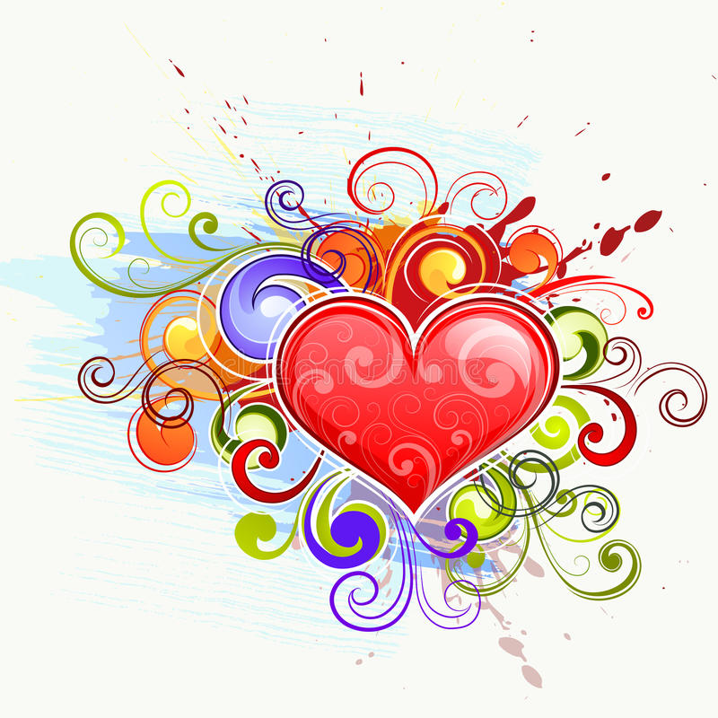 五颜六色的重点爱 向量例证