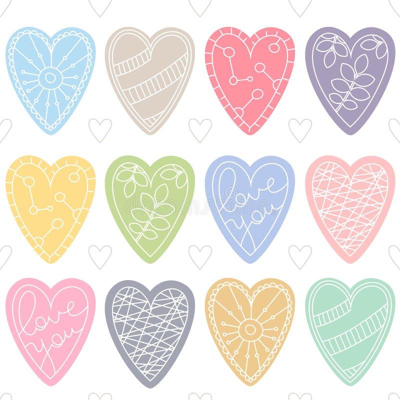 五颜六色的重点 情人节或婚礼的浪漫无缝的传染媒介样式 向量例证