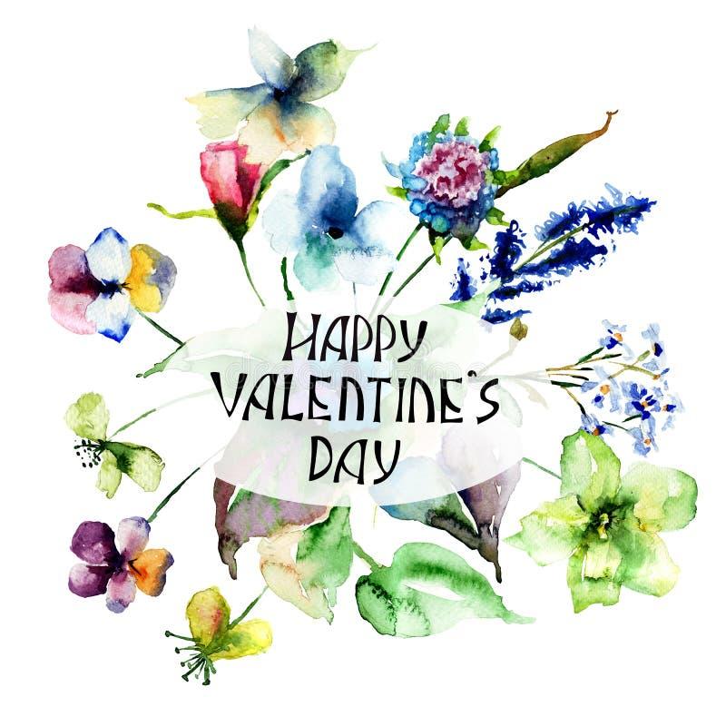 五颜六色的野花与标题愉快的Valentine's天 皇族释放例证