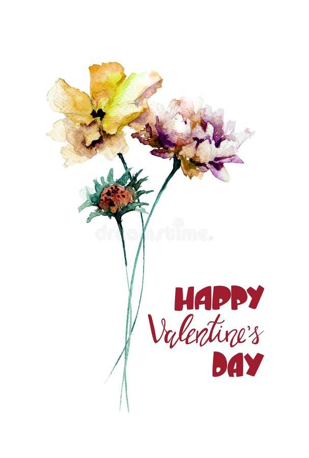 五颜六色的野花与标题愉快的Valentine's天 向量例证