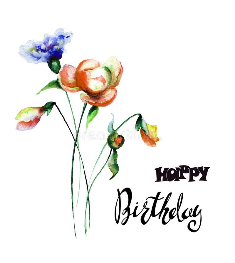 五颜六色的野花与标题生日快乐 向量例证