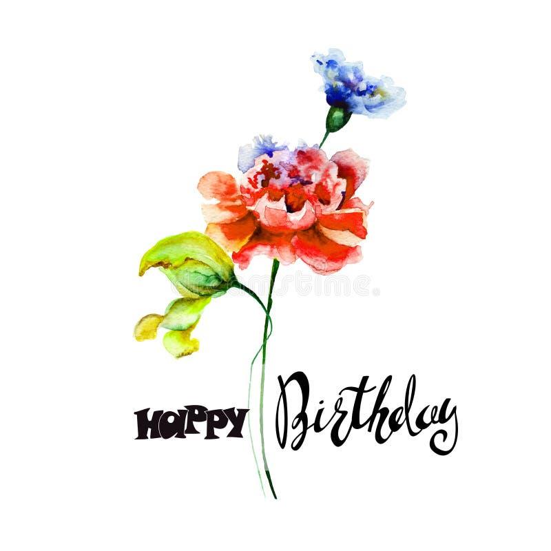 五颜六色的野花与标题生日快乐 皇族释放例证