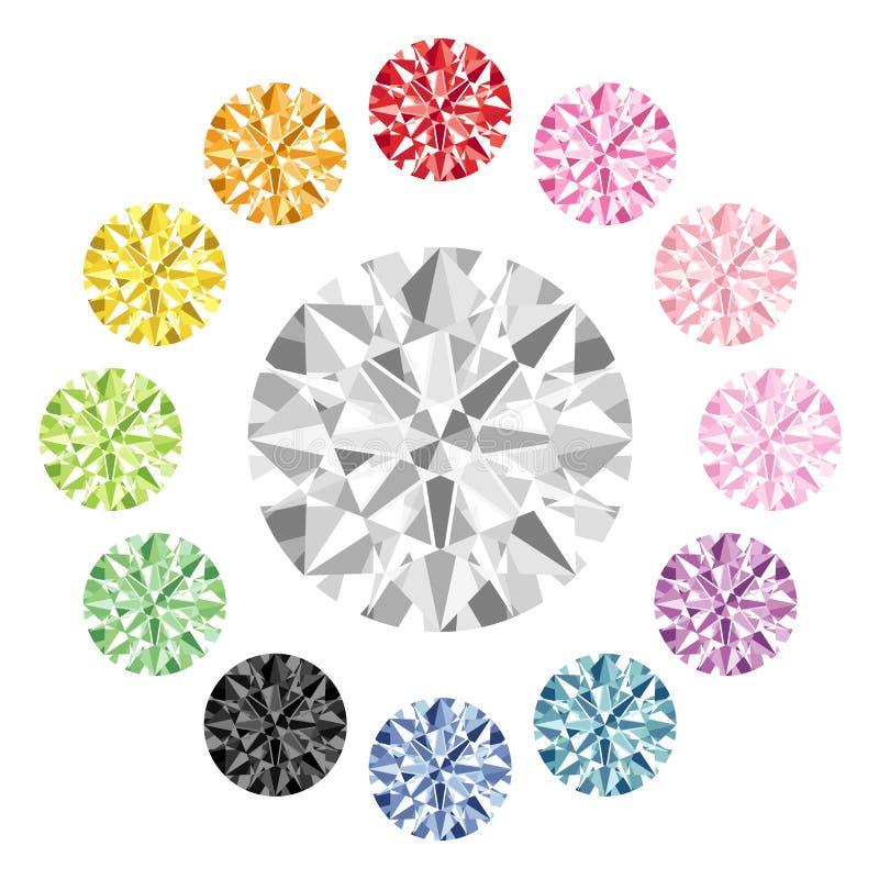 五颜六色的金刚石 库存例证