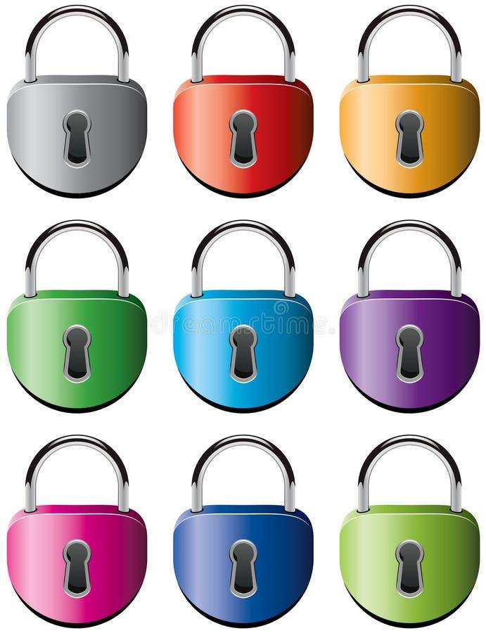 五颜六色的金属挂锁 皇族释放例证