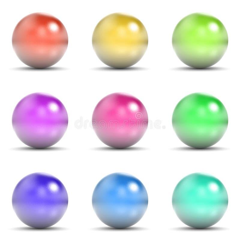 五颜六色的金属球形集合 向量例证