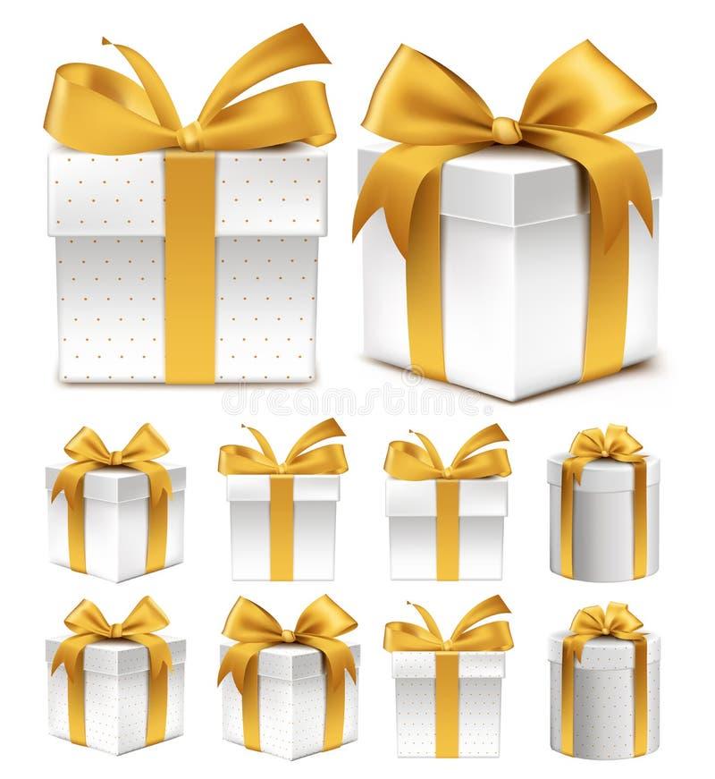 五颜六色的金样式礼物盒的现实3D收藏 库存例证