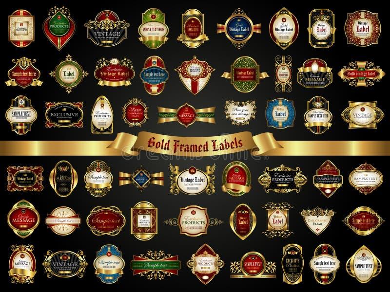 五颜六色的金被构筑的标签的大收藏量在葡萄酒样式的在黑背景 向量例证