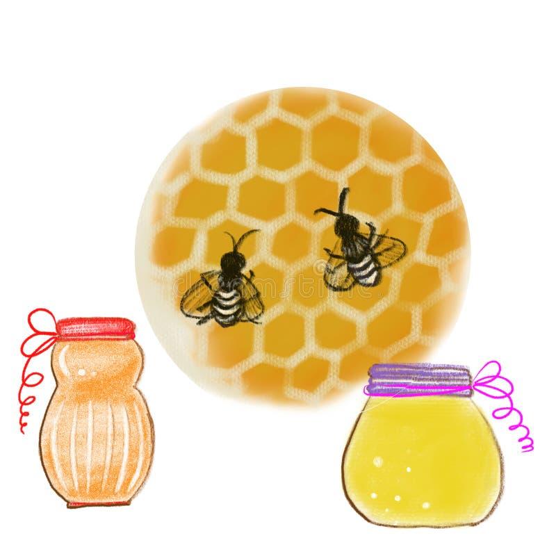五颜六色的铅笔、水彩和丙烯酸漆蜂蜜画的蜂和瓶子 库存例证