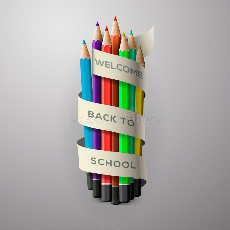 五颜六色的铅笔蜡笔 皇族释放例证
