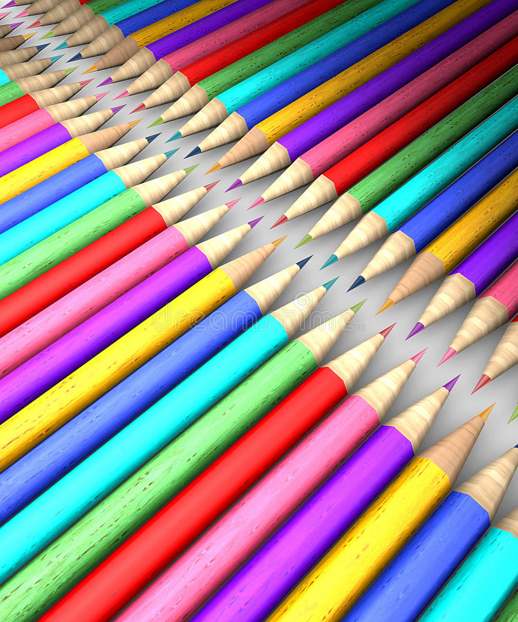 五颜六色的铅笔行 皇族释放例证