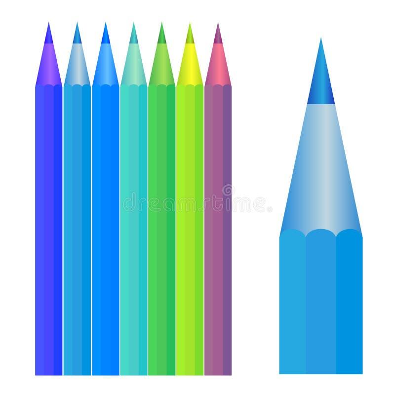 五颜六色的铅笔集 库存图片