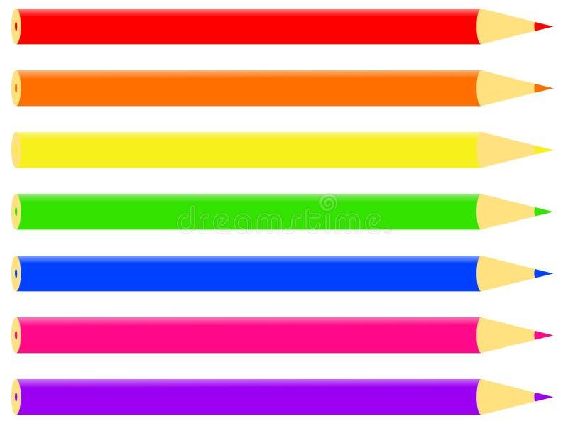 五颜六色的铅笔 皇族释放例证