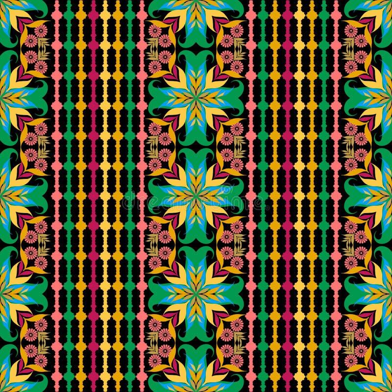 五颜六色的镶边花卉无缝的样式 传染媒介装饰物ethn 皇族释放例证