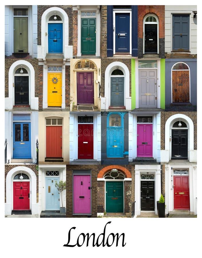 五颜六色的门拼贴画在伦敦 免版税库存照片