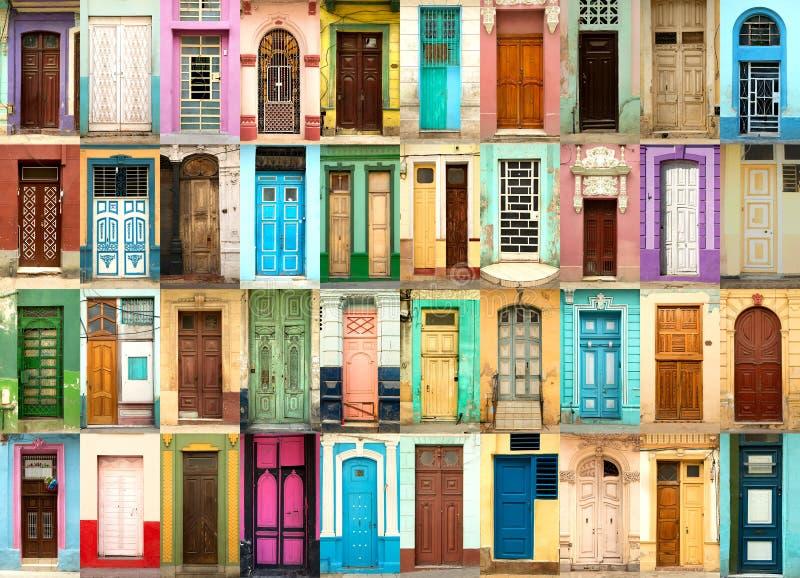 五颜六色的门拼贴画在哈瓦那在古巴 免版税库存图片
