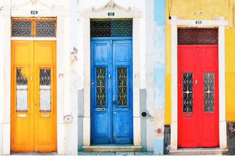 五颜六色的门 免版税库存照片