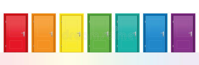 五颜六色的门 向量例证
