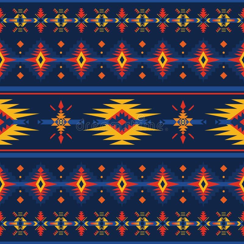 五颜六色的阿兹台克无缝的样式 种族几何装饰品 向量例证