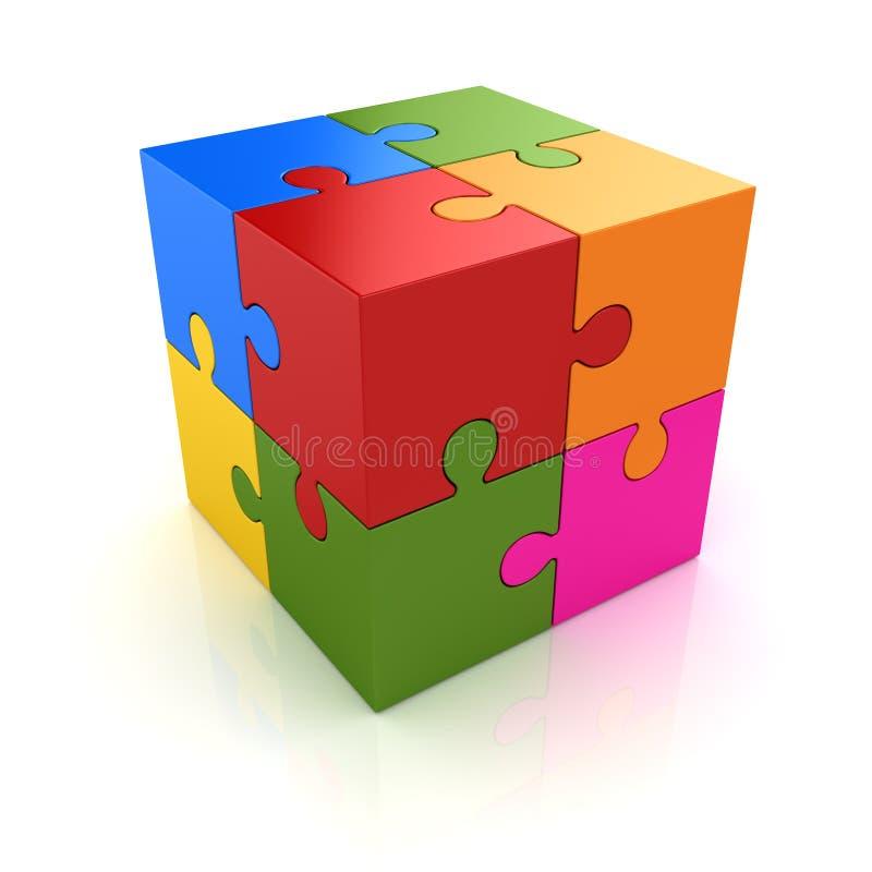 五颜六色的难题立方体 库存例证