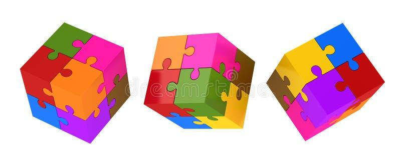 五颜六色的难题立方体 皇族释放例证