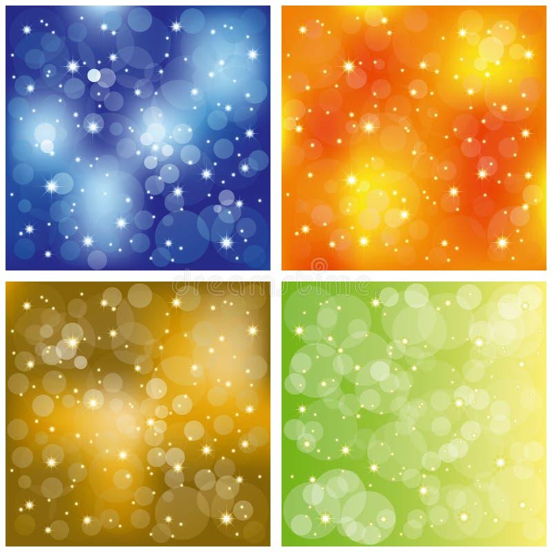五颜六色的集合闪耀的stardust墙纸 库存例证
