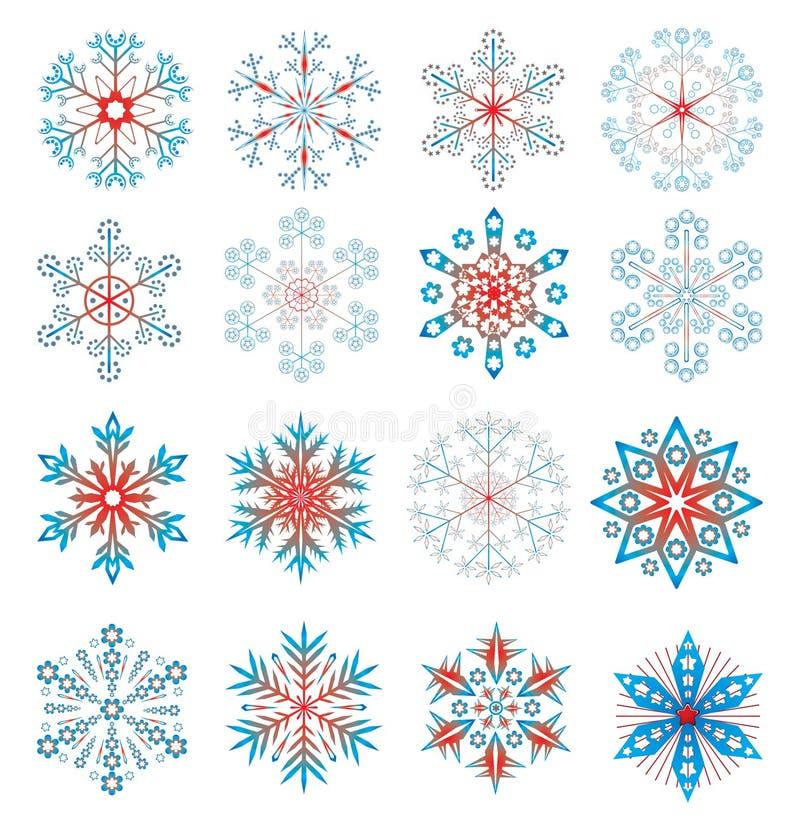 五颜六色的集雪花 库存例证