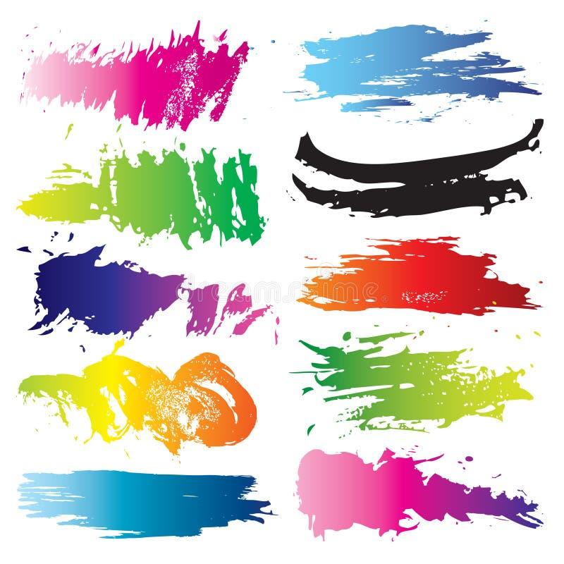 五颜六色的集spashes 向量例证