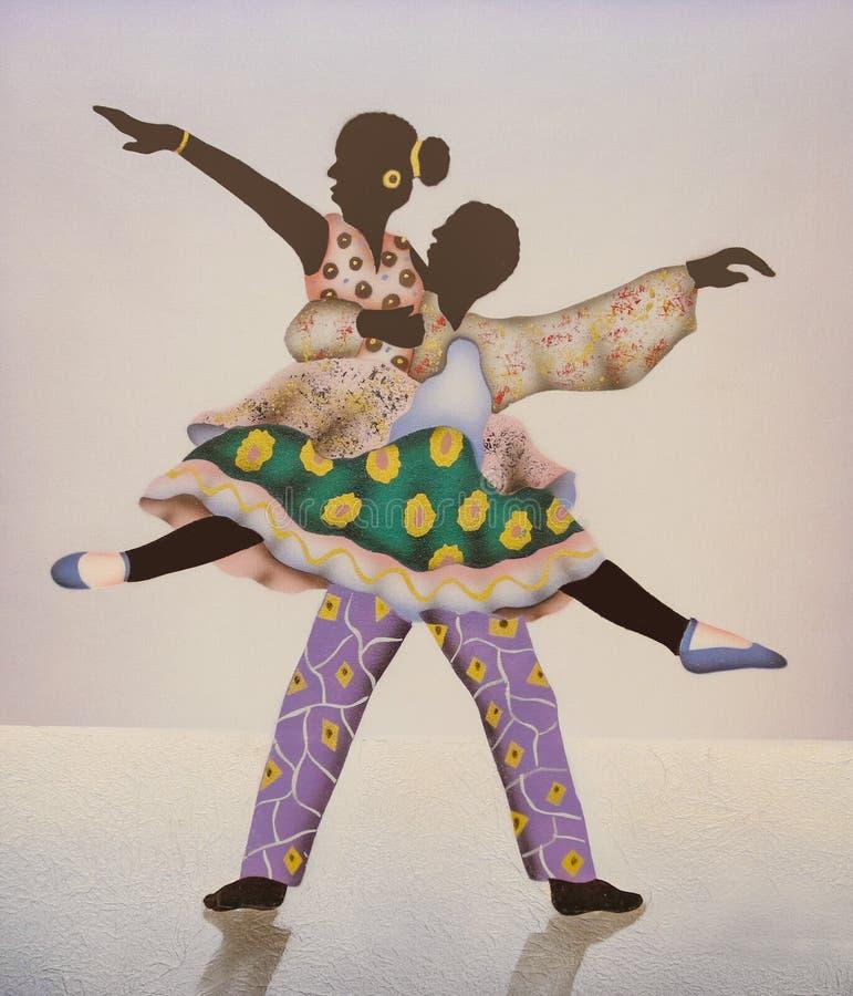 五颜六色的非洲跳芭蕾舞者 向量例证