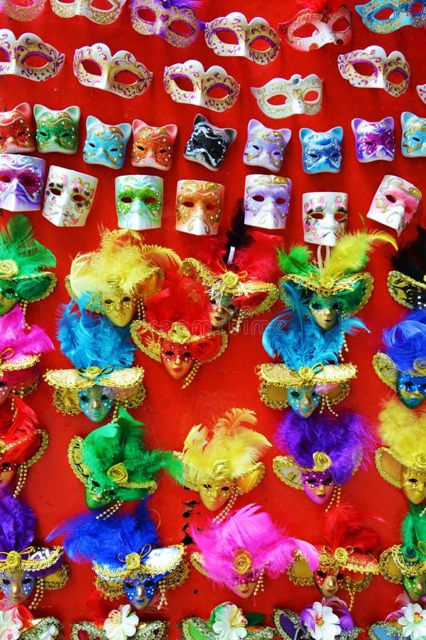 五颜六色的面具,威尼斯,意大利 免版税库存照片