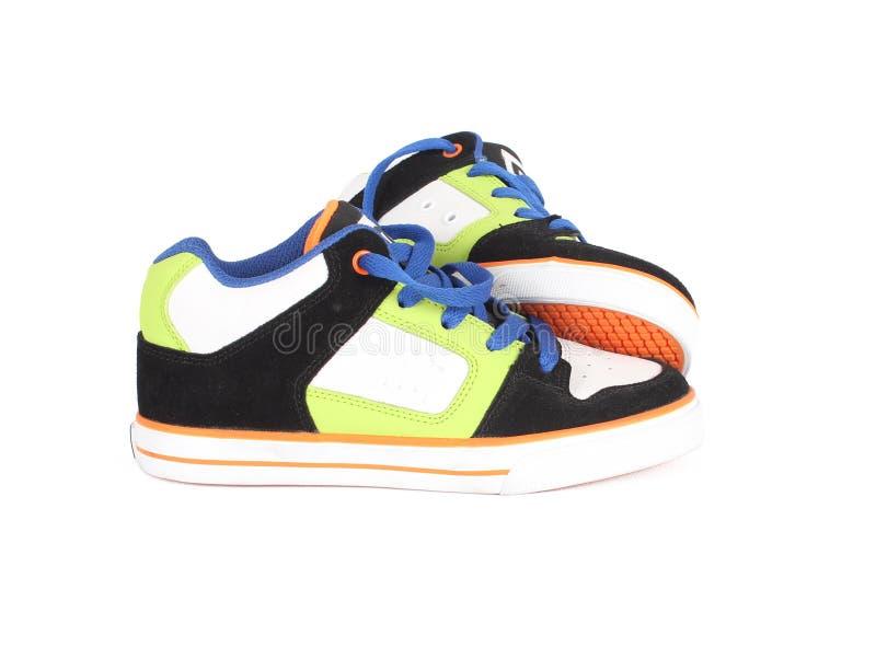 五颜六色的鞋子体育运动 图库摄影