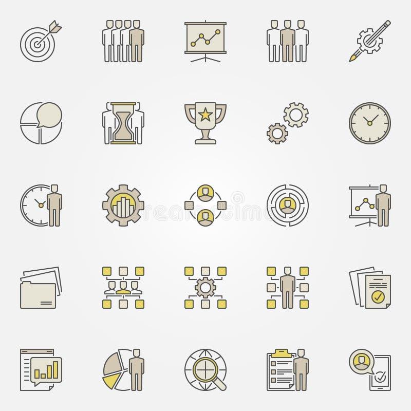 五颜六色的项目管理象 库存例证