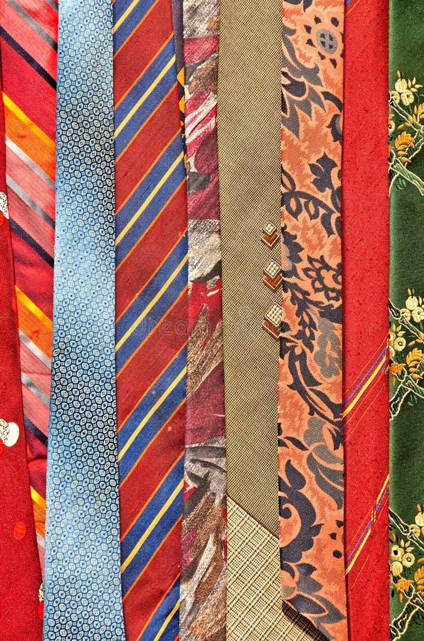 五颜六色的领带样品  免版税库存图片