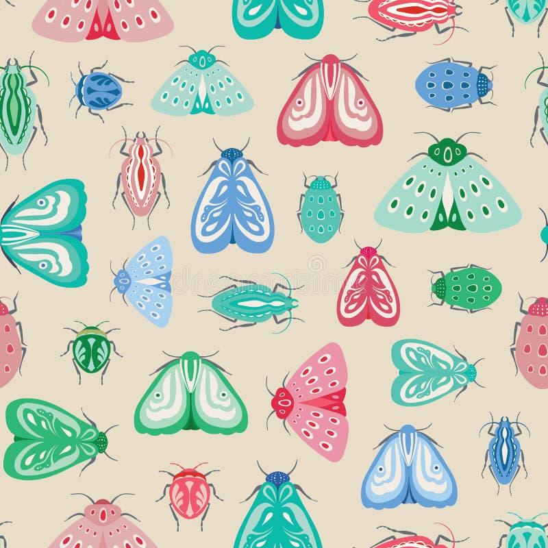 五颜六色的飞蛾和甲虫无缝的重复样式 昆虫和臭虫传染媒介设计  库存例证