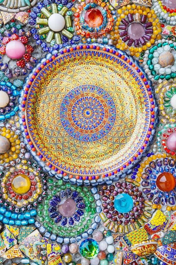 五颜六色的马赛克艺术摘要墙壁背景 免版税库存照片