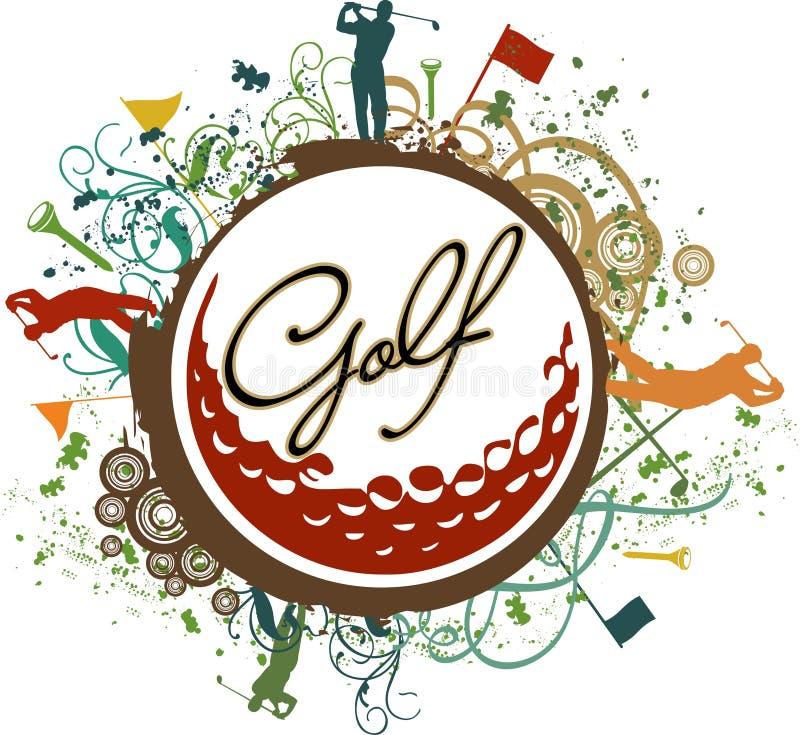 五颜六色的高尔夫球grunge图标 皇族释放例证