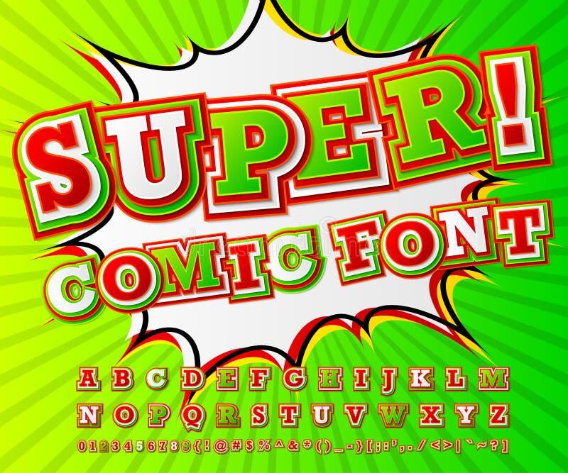 五颜六色的高细节可笑的字体,字母表 漫画,流行艺术 库存例证