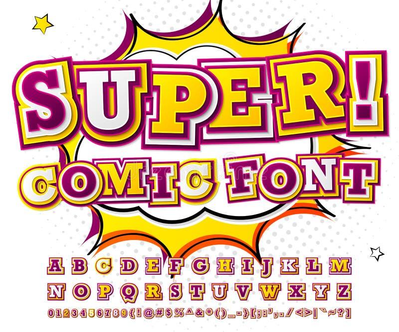五颜六色的高细节可笑的字体,字母表 漫画,流行艺术 向量例证
