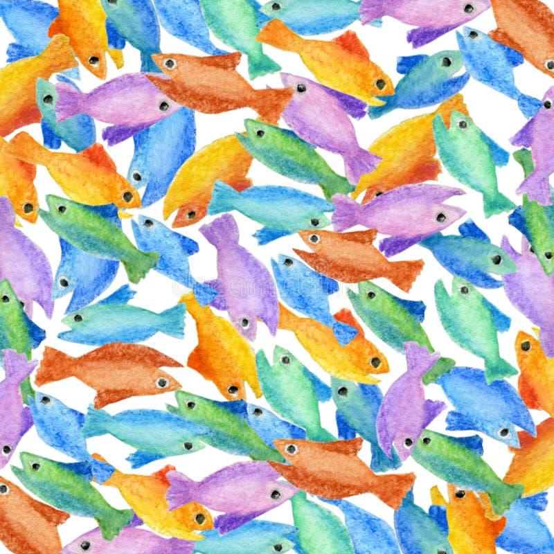 五颜六色的鱼样式背景 库存例证