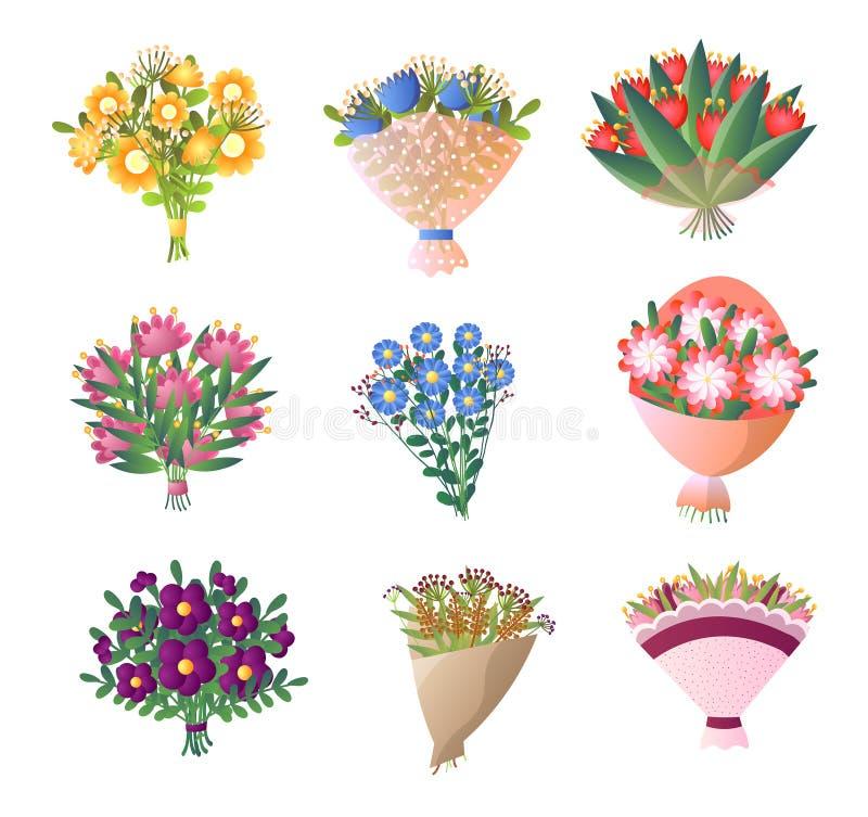 五颜六色的鲜花花束在白色设置了被隔绝 向量例证