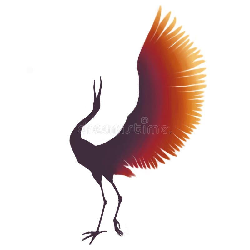 五颜六色的鸟 有开放翼的紫色和橙色起重机 在白色背景隔绝的剪影 彩虹桔槔 向量例证