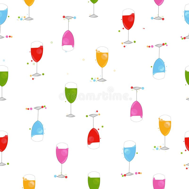 五颜六色的鸡尾酒会酒杯 新年好贺卡和样式 皇族释放例证